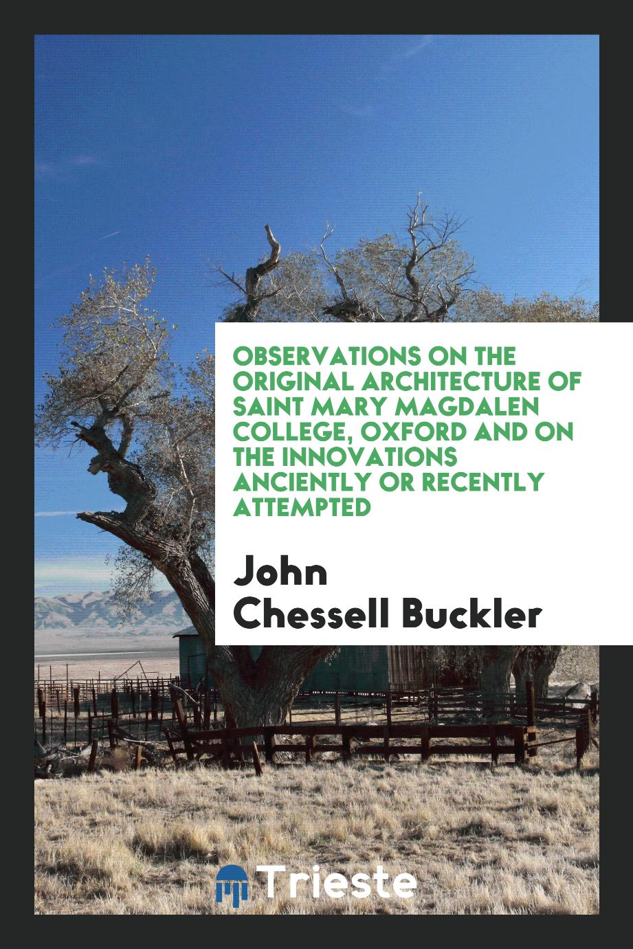 John  Chessell Buckler - Observations on the Original Architecture of Saint Mary Magdalen College, Oxford and on the Innovations Anciently or Recently Attempted