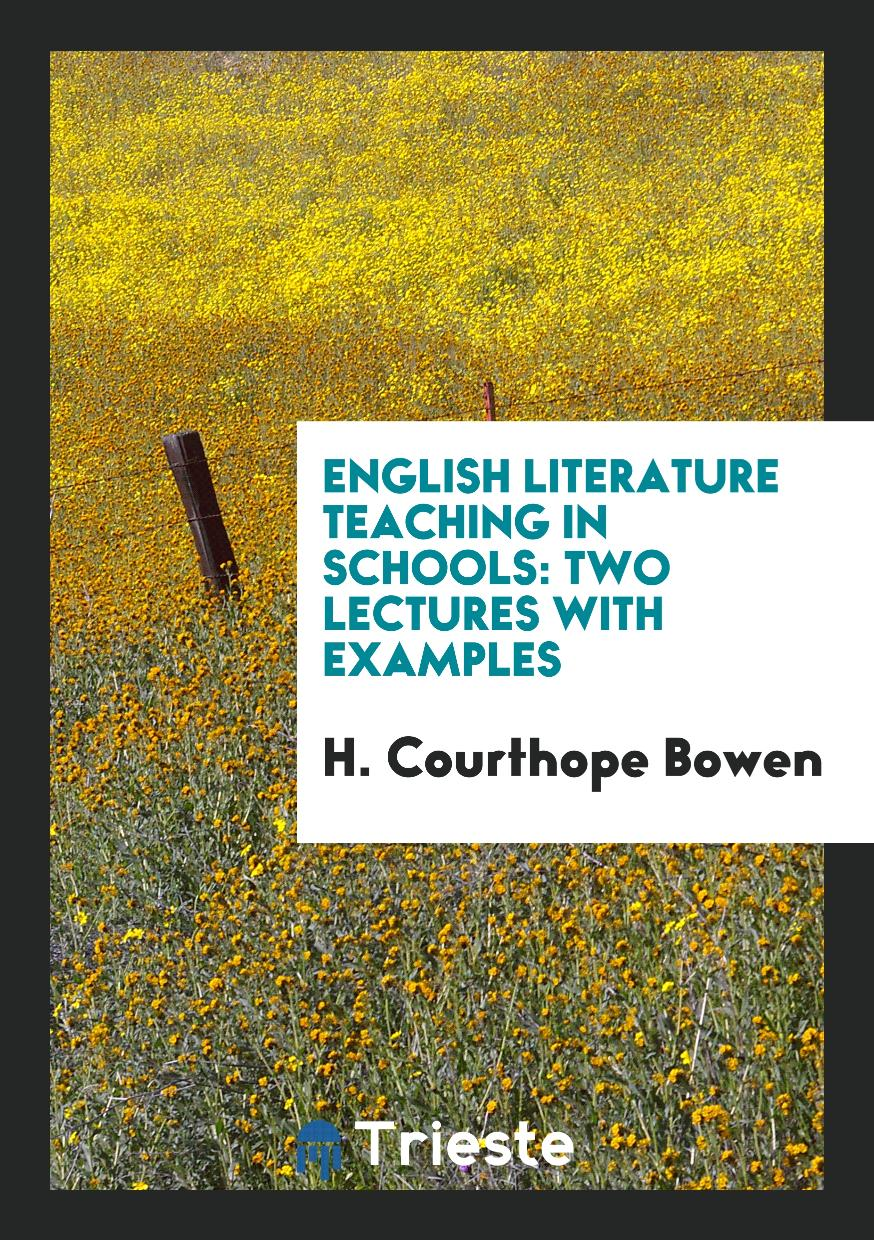 English Literature Teaching in Schools: Two Lectures with Examples