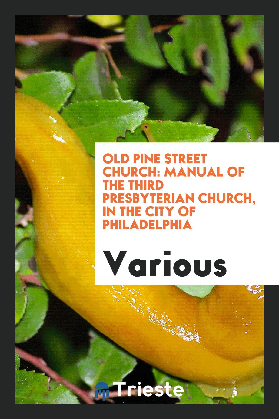 Old Pine Street Church: Manual of the Third Presbyterian Church, in the City of Philadelphia