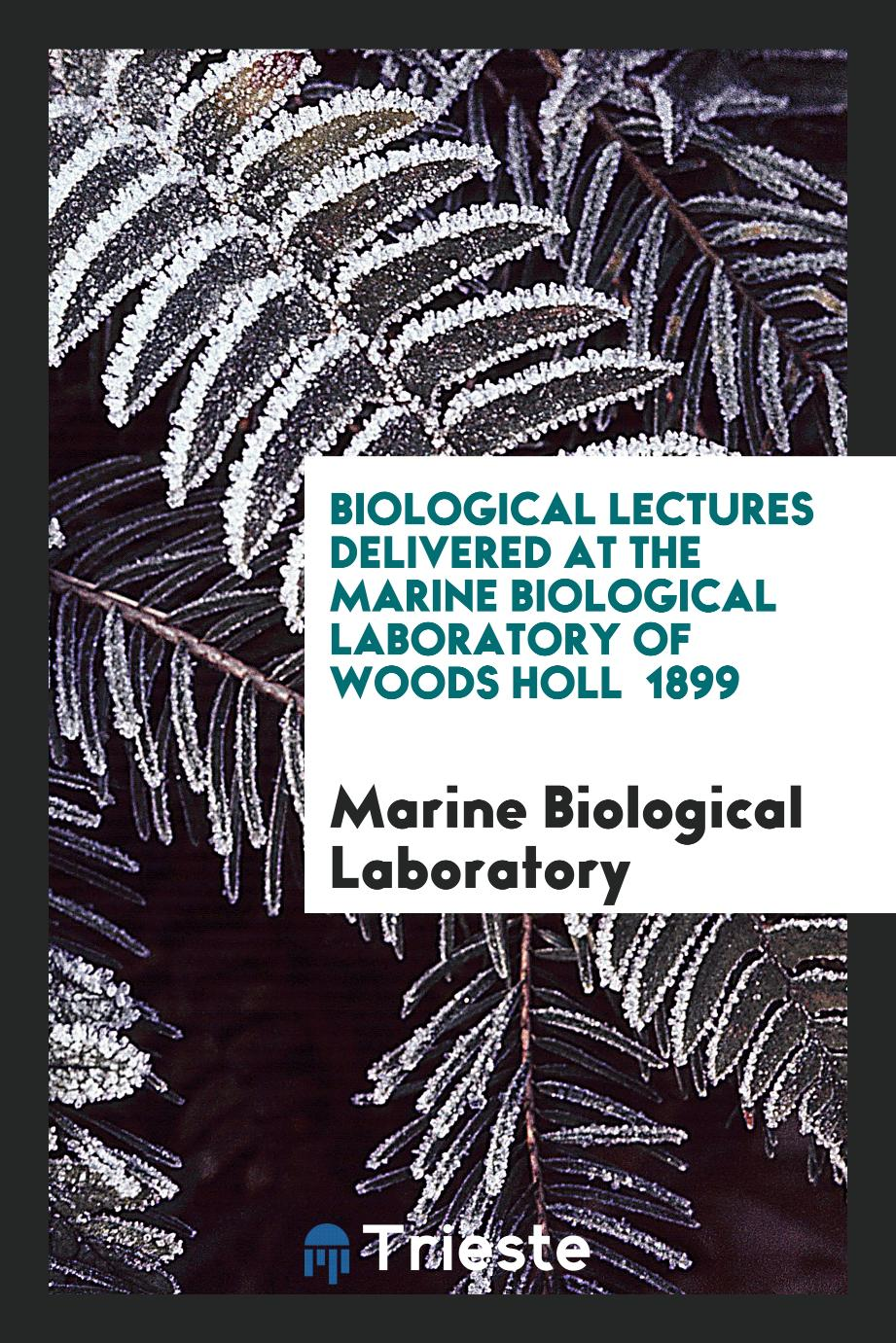 Biological Lectures Delivered at the Marine Biological Laboratory of Woods Holl 1899