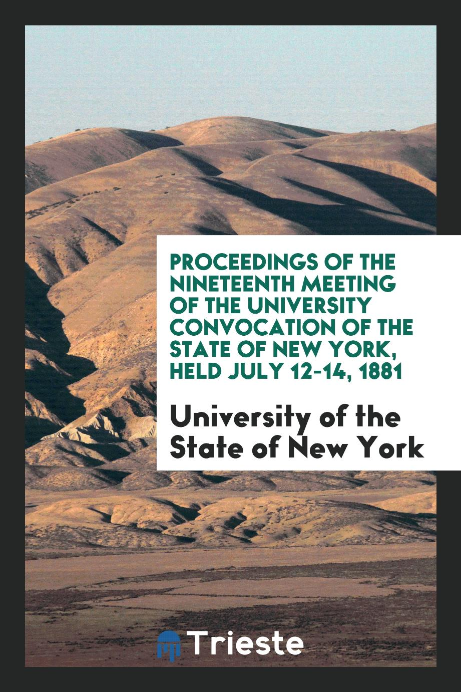 University of the State of New York - Proceedings of the Nineteenth Meeting of the University Convocation of the State of New York, Held July 12-14, 1881