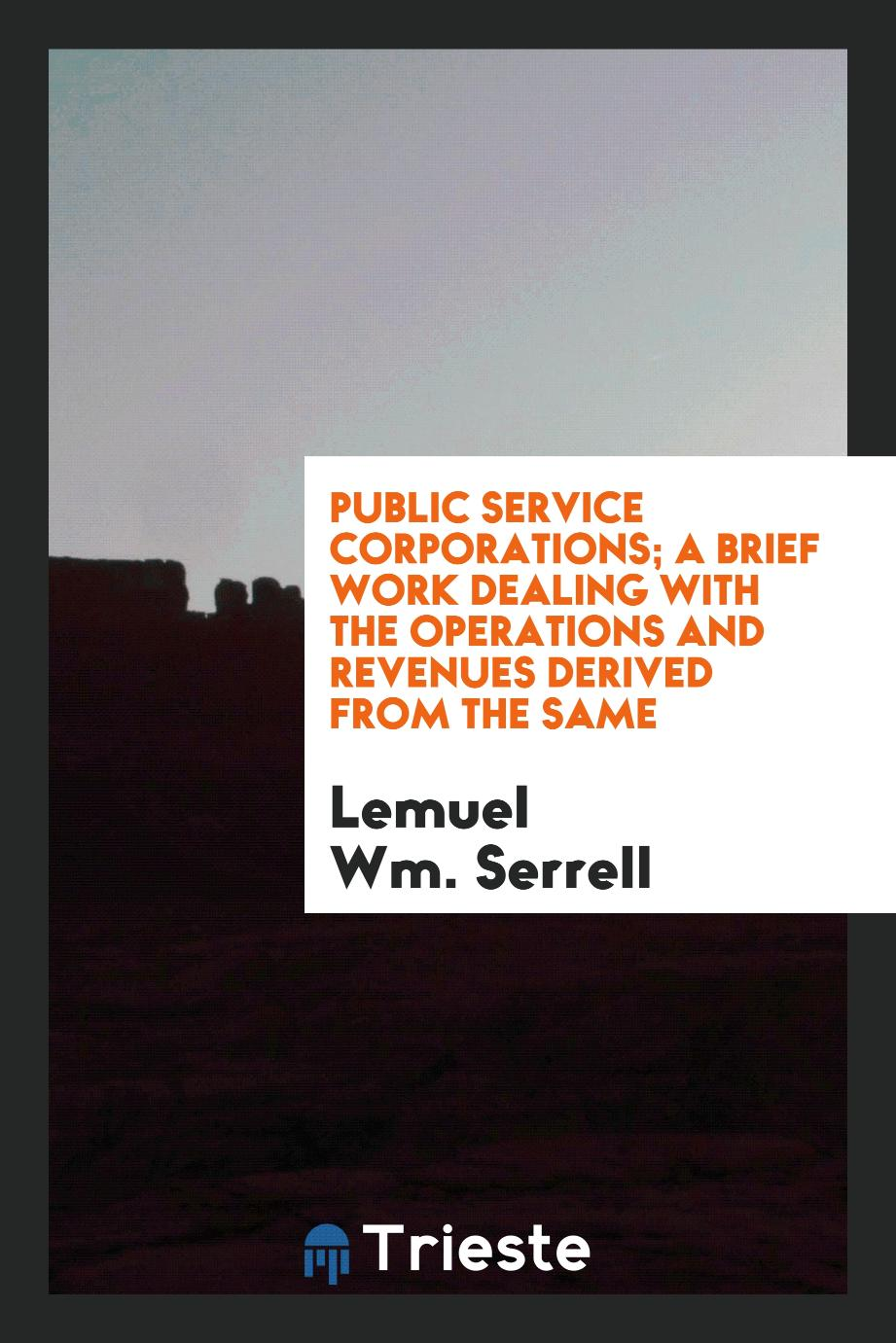 Public service corporations; a brief work dealing with the operations and revenues derived from the same