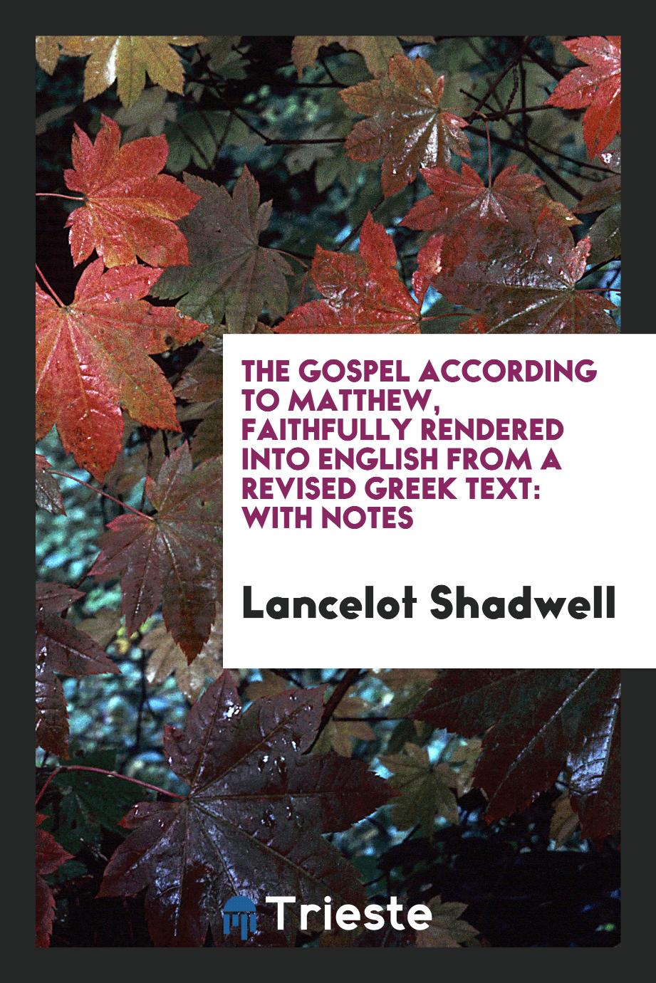 The Gospel According to Matthew, Faithfully Rendered into English from a Revised Greek Text: With Notes