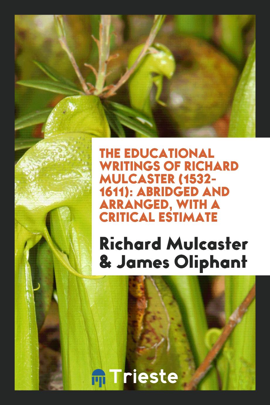 The Educational Writings of Richard Mulcaster (1532-1611): Abridged and Arranged, with a Critical Estimate