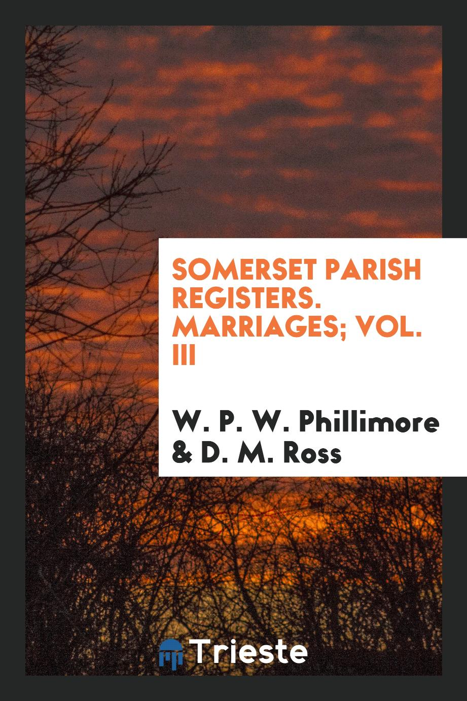 W. P. W. Phillimore, D. M. Ross - Somerset Parish registers. Marriages; Vol. III