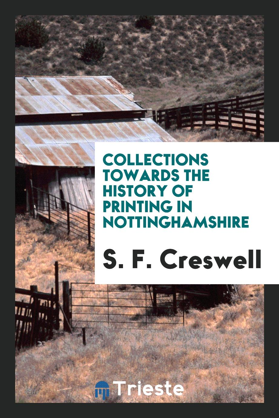 Collections towards the history of printing in Nottinghamshire