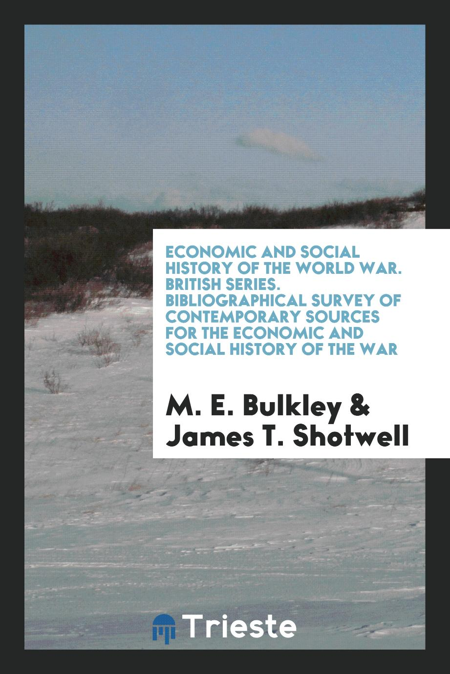 Economic and Social History of the World War. British Series. Bibliographical Survey of Contemporary Sources for the Economic and Social History of the War