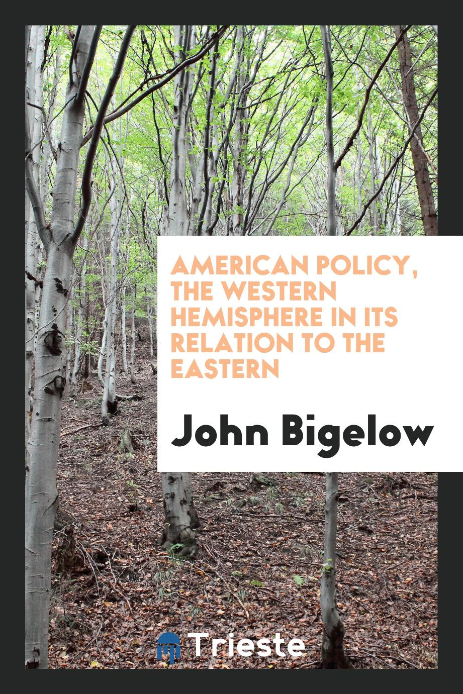 American policy, the western hemisphere in its relation to the eastern
