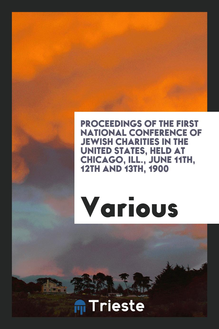 Proceedings of the First National Conference of Jewish Charities in the United States, Held at Chicago, Ill., June 11th, 12th and 13th, 1900